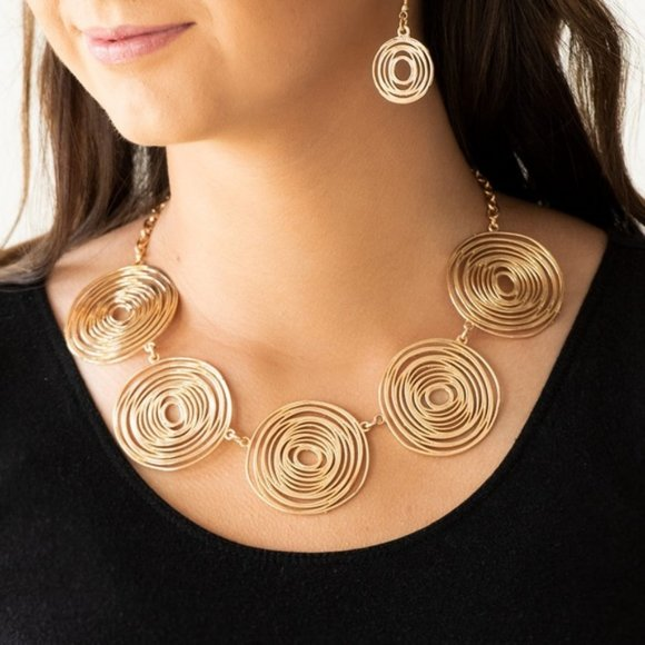 Sol-Mates Gold Swirling Necklace & Earring Set NWT